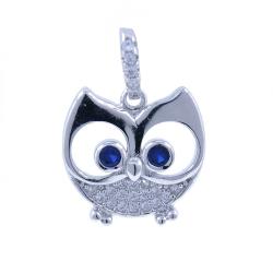 Owl Pendant with Zircons...