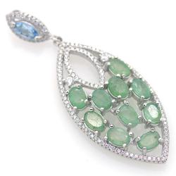 Emerald, Blue Topaz and 925...