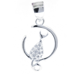 Cat and Moon Pendant with...