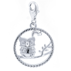 Zirconia and Silver 925 Owl...