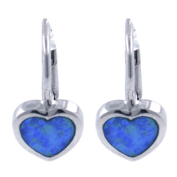 Lab opal heart earring and...