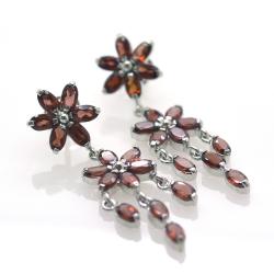 Garnet and Silver 925 Earrings