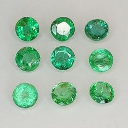 Round cut emerald 1.9-3.7mm...